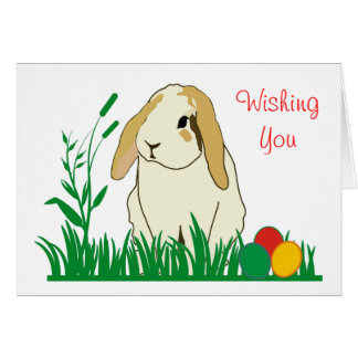 Lop Eared Bunny and Easter Eggs in Grass Card