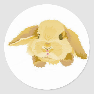 Lop Eared Bunny Round Sticker