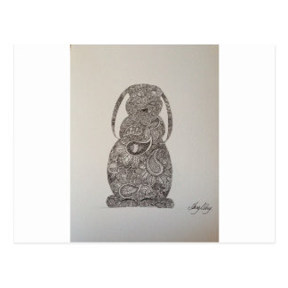 Lop eared rabbit design postcard