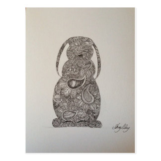 Lop eared rabbit design postcard