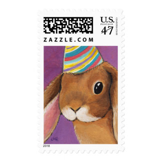 Lop Eared Rabbit in a Party Hat Illustration Postage