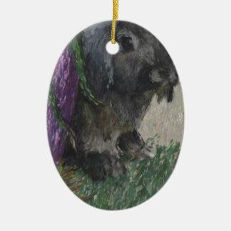 Lop eared  rabbit painting ceramic ornament