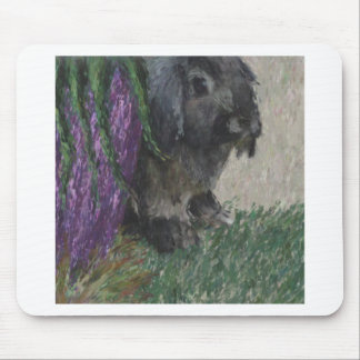 Lop eared  rabbit painting mouse pad