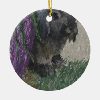 Lop eared  rabbit painting Double-Sided ceramic round christmas ornament