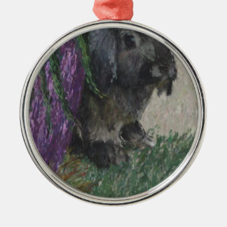 Lop eared  rabbit painting round metal christmas ornament