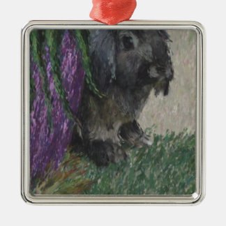 Lop eared  rabbit painting square metal christmas ornament