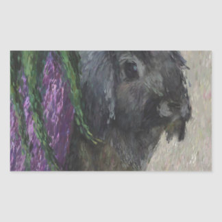 Lop eared  rabbit painting rectangle stickers