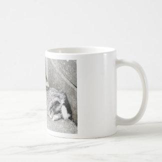 Lop  eared rabbit sleeping basic white mug