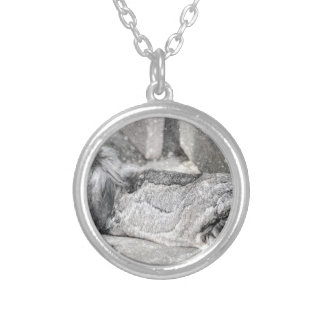Lop  eared rabbit sleeping silver plated necklace