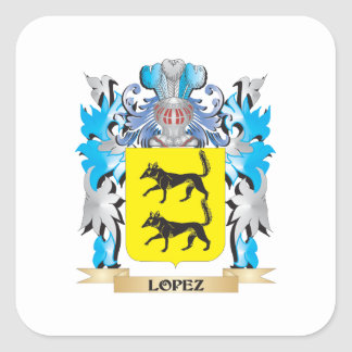 Lopez Coat of Arms - Family Crest Square Sticker