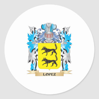 Lopez Coat of Arms - Family Crest Classic Round Sticker
