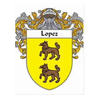 Lopez Coat of Arms (Mantled) Postcard
