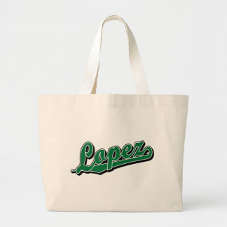 López en verde bolsa lienzo
