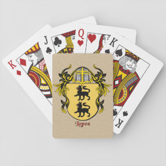 Lopez Heraldic Shield with Mantling Deck Of Cards