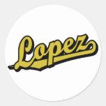Lopez in Gold Round Stickers