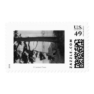 Lopez Island, WA - Fishing Boats In Bay Postage Stamps