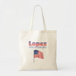 López para la bandera americana patriótica del con bolsa lienzo