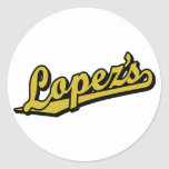 Lopez's in Gold Round Stickers