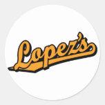 Lopez's in Orange Round Sticker