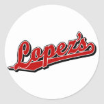 Lopez's in Red Round Stickers