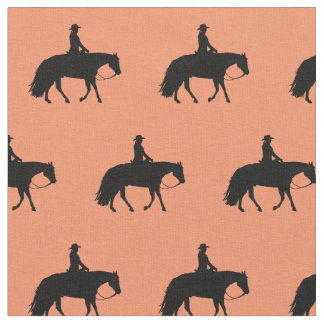 Loping Black Western Pleasure Horse Silhouettes Fabric