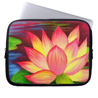 Loptop Sleeve Pink Lotus Flower Painting Art Computer Sleeve