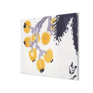 Loquats and a Grasshopper Canvas Print