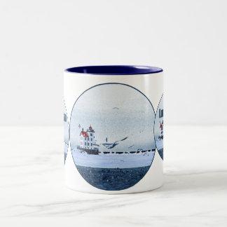 Lorain Lighthouse Two-Tone Coffee Mug