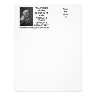 Lord Acton All Power Corrupts Absolute Power Quote Letterhead