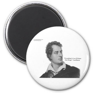 """Lord Byron """"Love W/O Wings"""" Quote Gifts & Tees 2 Inch Round Magnet"""