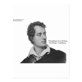 """Lord Byron """"Love W/O Wings"""" Quote Gifts & Tees Postcard"""