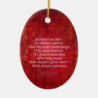 Lord Byron  Romantic Love quote art typography Christmas Tree Ornament
