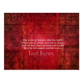 Lord Byron  Romantic Love quote art typography Postcard