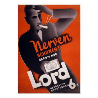 Lord Cigarettes German Vintage Poster Restored