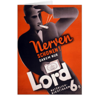 Lord Cigarettes German Vintage Poster Restored Card