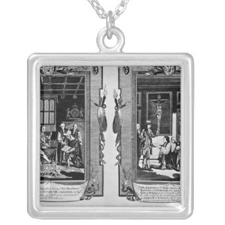 Lord Cromwell presents the bible to Henry VIII Square Pendant Necklace