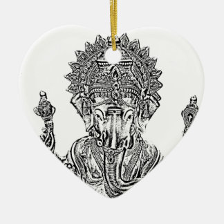 Lord Ganesh Double-Sided Heart Ceramic Christmas Ornament