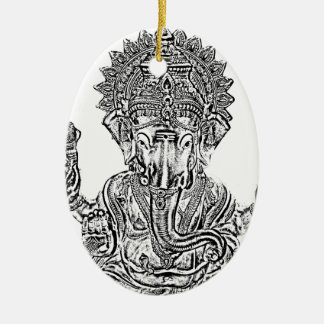 Lord Ganesh Double-Sided Oval Ceramic Christmas Ornament