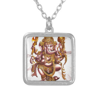 Lord Ganesh Good Luck Charm Square Pendant Necklace