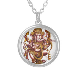 Lord Ganesh Good Luck Charm Round Pendant Necklace