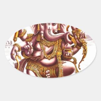 Lord Ganesh Good Luck Charm Oval Sticker