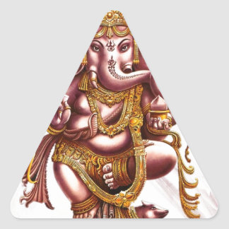 Lord Ganesh Good Luck Charm Triangle Sticker