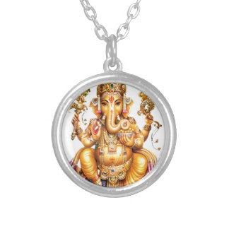 LORD GANESH HINDU GOD SILVER PLATED NECKLACE