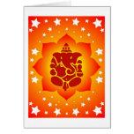Lord Ganesha On Lotus Design Card