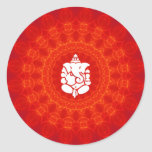 Lord Ganesha on Mandala Classic Round Sticker