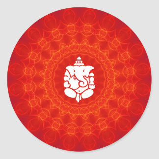 Lord Ganesha on Mandala Classic Round Sticker