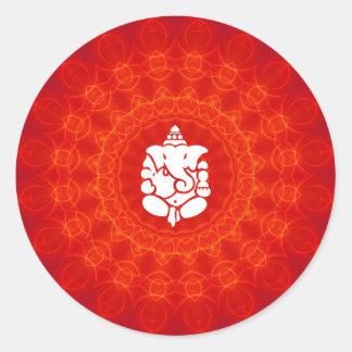 Lord Ganesha on Mandala Round Stickers