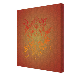 Lord Ganesha - red orange yellow India God Yoga Gallery Wrap Canvas