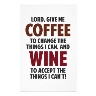 Lord Give Me Coffee And Wine Stationery Paper