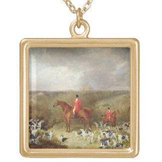 Lord Glamis and his Staghounds, 1823 (oil on canva Gold Plated Necklace